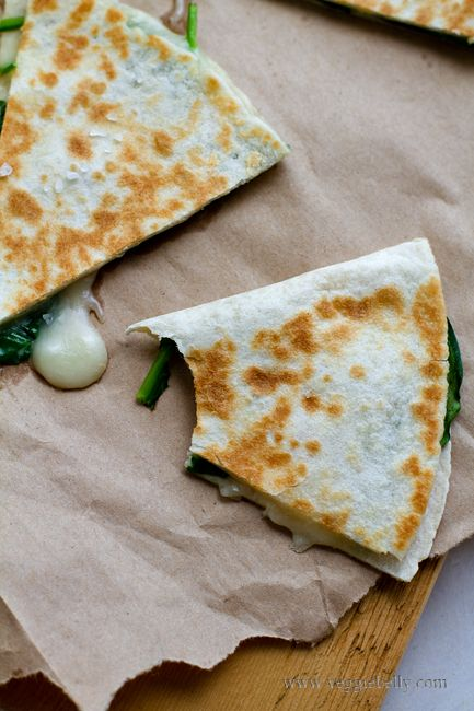 Spinach & Taleggio Cheese Quesadillas...uses only four ingredients and takes 10 minutes