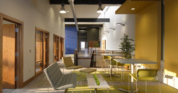 GARBER METROLOGY Designed by TONO, the new facility possesses a plethora of innovative building technologies. www.tonoarchitect... #yellow #green #architecture #interiordesign #meaningfulplaces #tono #TONOgroup #building #design #lounge #dining #chair #table