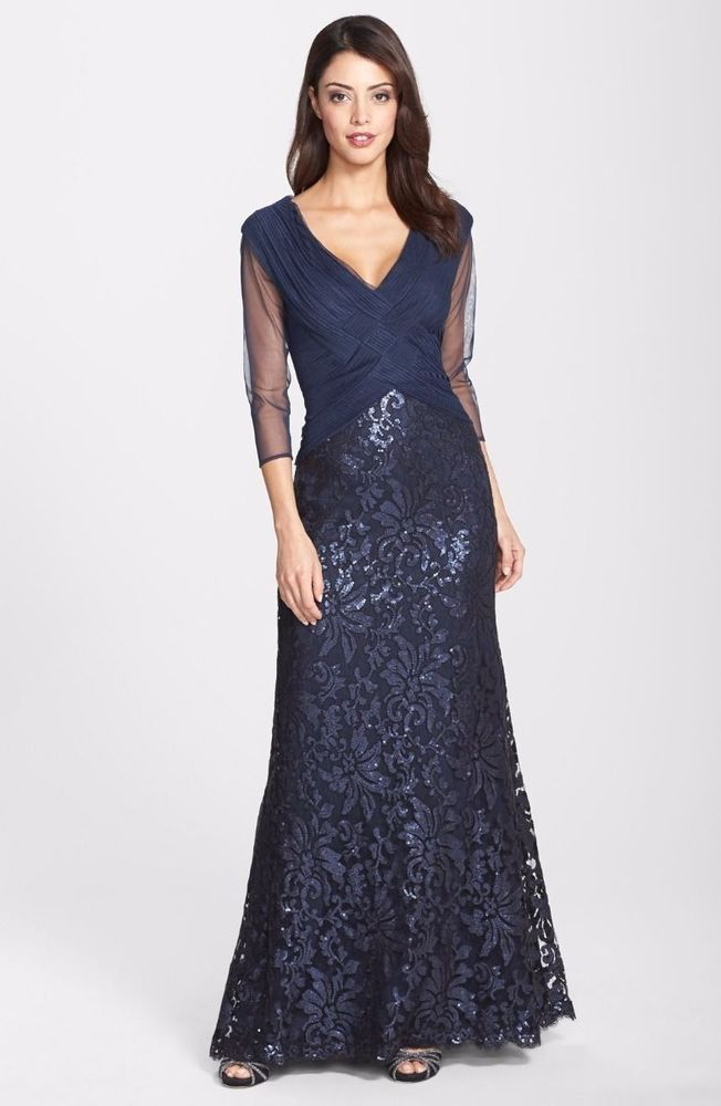 Tadashi Shoji Sequin Lace Ruched Tulle Bodice Dress Gown NAVY SZ ...