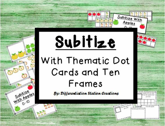 Subitize with Thematic Dot Cards and Ten Frames: Apples.  Great for building number sense. Use for quick flash. Preschool, Kindergarten. $