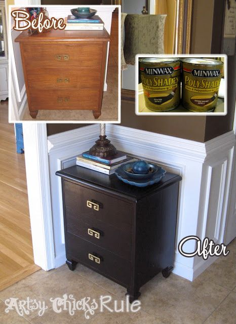 Super Easy Way to Transform & Update Wood Stained Furniture -Minwax PolyShades- Artsy Chicks Rule #minwax #polyshades #furniture