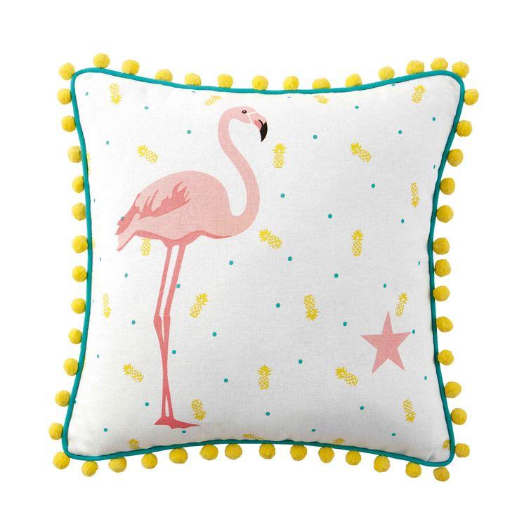 Cuscino fenicottero rosa con pompon ...