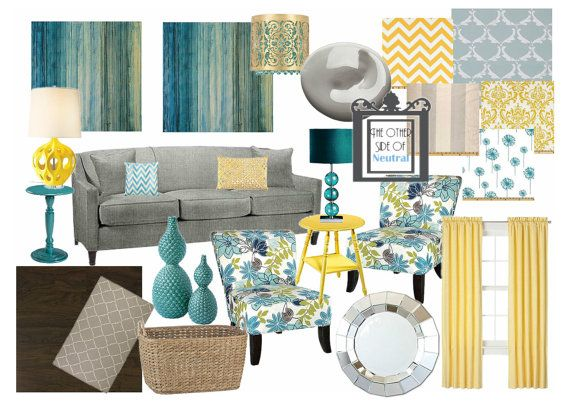 Interior Design Custom Mood Board EDesign By OtherSideOfNeutral, $89.99 |  House Love | Pinterest | Mood Boards, Interior Design And Blue Yellow Grey