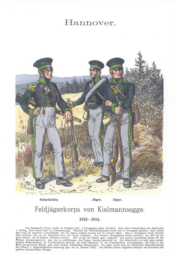 Vol 16 - Pl 20 - Hannover: Feldjägerkorps von Kielmannsegge. Scharfschütz. Jäger. Jäger (II). 1813-14.