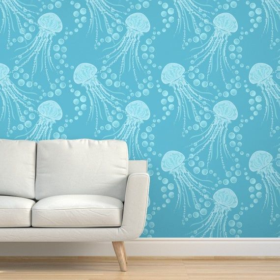 Jellyfish Wallpaper Just Jellies Jellyfish By Katerhees Etsy In 2020 Decor Removable Wallpaper Peel And Stick Wallpaper