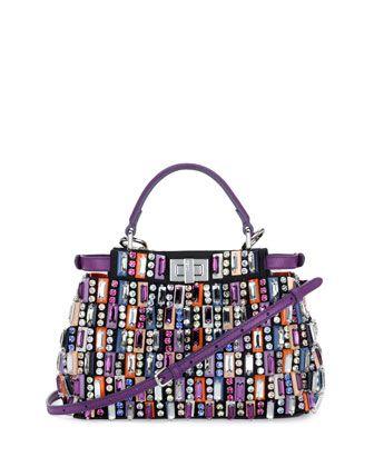 Peekaboo Mini Jeweled Satchel Bag by Fendi at Neiman Marcus.