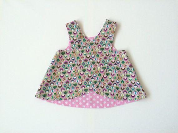 Overgooier met retro patroon en roze polka door FabriqueDeLimonade