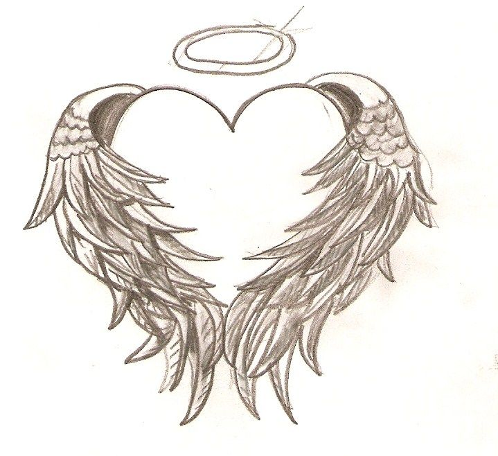 "angel wings wrapped around a heart with a halo .. This is something I would like too "" gone but never forgotten MCV"""