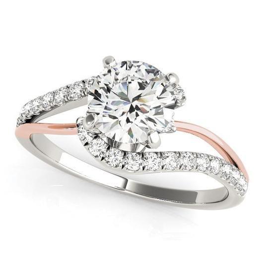 14k white and rose gold round bypass split shank diamond engagement ring 1 1 - Wedding Rings Under 500
