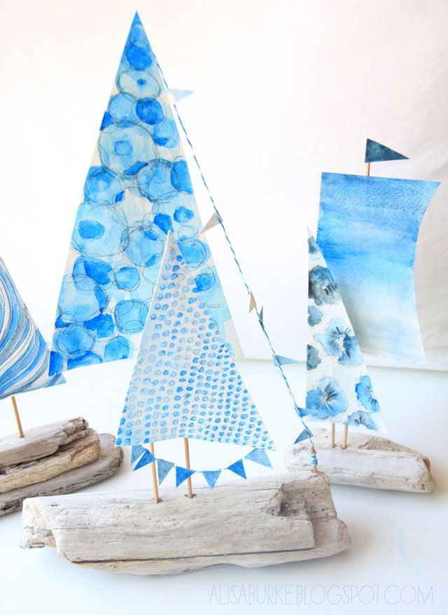 Awesome Driftwood Boats from Alisa Burke. These would be so cute as a craft or centerpiece for a nautical birthday party.