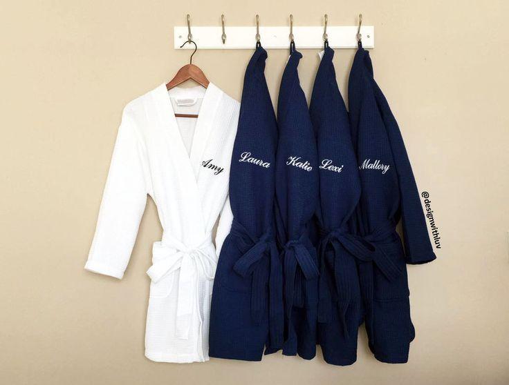 SET OF 5 bridesmaid waffle robes, monogram robes, wedding robe, Bridal Party gift, bridesmaid gift, bridal robe, monogrammed waffle robe by DesignWithLuv on Etsy https://www.etsy.com/listing/287213579/set-of-5-bridesmaid-waffle-robes