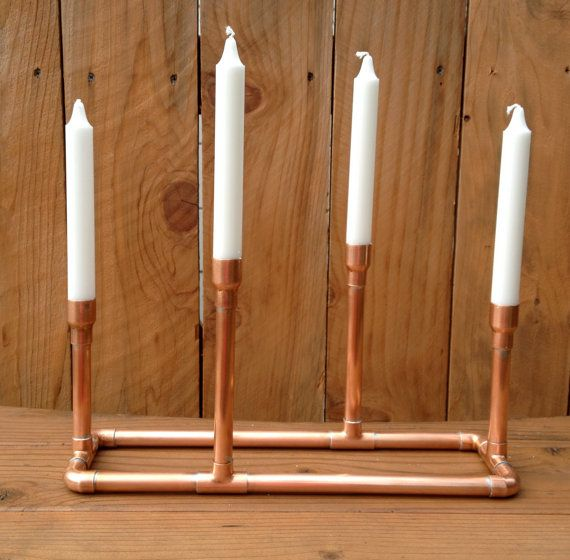 Industrial Chic Modern Urban Loft Copper Metal Pipe  Candlestick Holder Sculpture Centerpiece, Holiday Centerpiece Candelabra op Etsy, 58,79 €