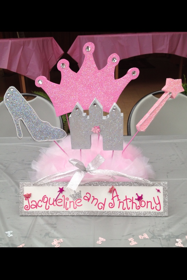 Princess Themed Baby Shower Head Centerpiece Styrofoam Pieces Painted  Glittered And Handmade Sign