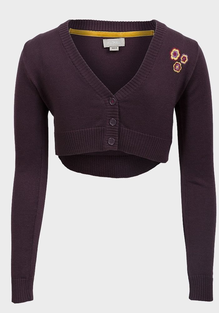New Branded Villa Happ Girls Crop Cardi Purple Size 9-10 Years Cotton Blend