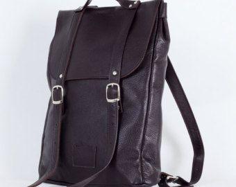 Sac à dos blanc de taille moyenne en cuir sac à dos / sur