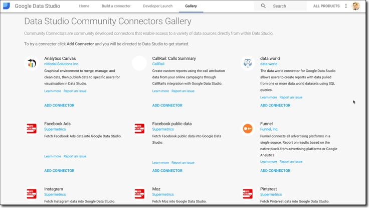 Community Connectors: Access all your data in Google Data Studio ?? .::. Data Studio is relatively new dashboard tool from Google launched in mid-2016. Its a superb tool for creating professional looking reports easily and quickly and it connects seamlessly to other Google data sources (e.g. Analytics AdSense Sheets ). .::. gas