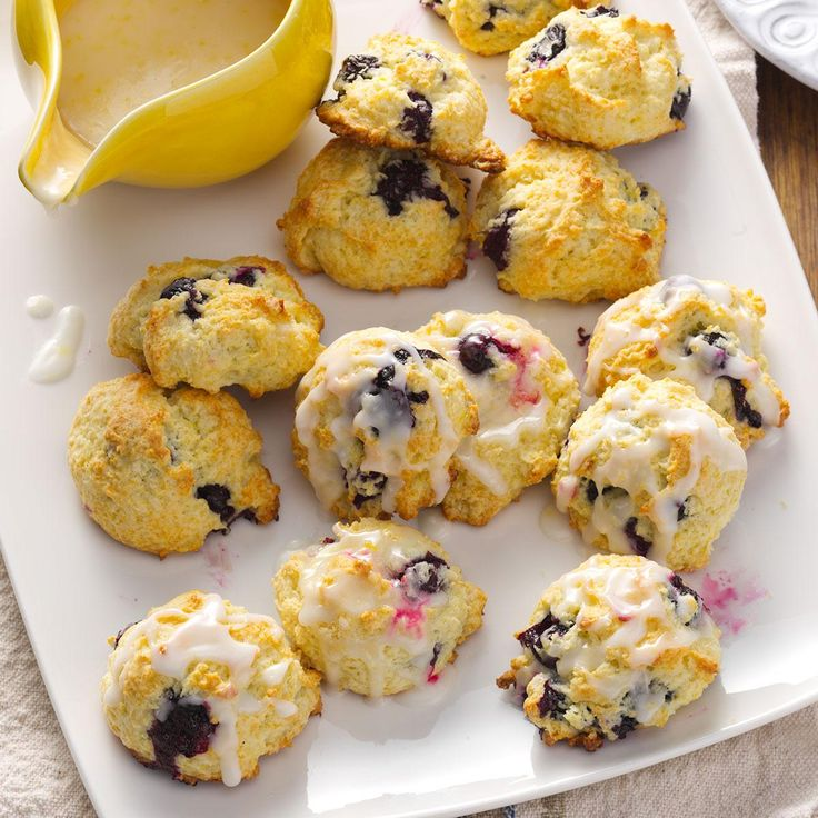 Lemon Blueberry Drop Scones Recipe -I enjoy serving these fruity scones for baby and bridal showers. They're a bit lower in fat than other scone recipes, so you can indulge with little guilt. —Jacqueline Hendershot, Orange, California