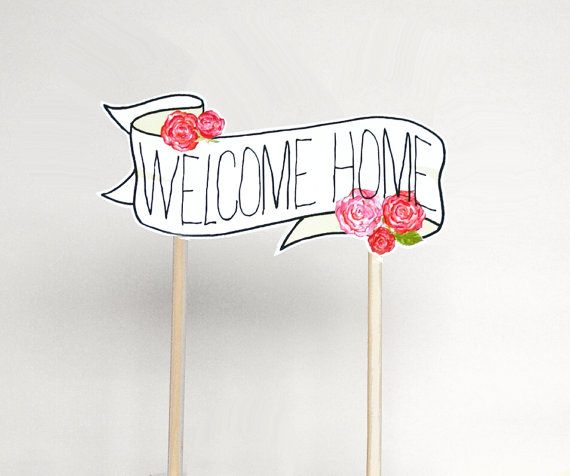 Welcome Home Cake Topper Banner & Roses