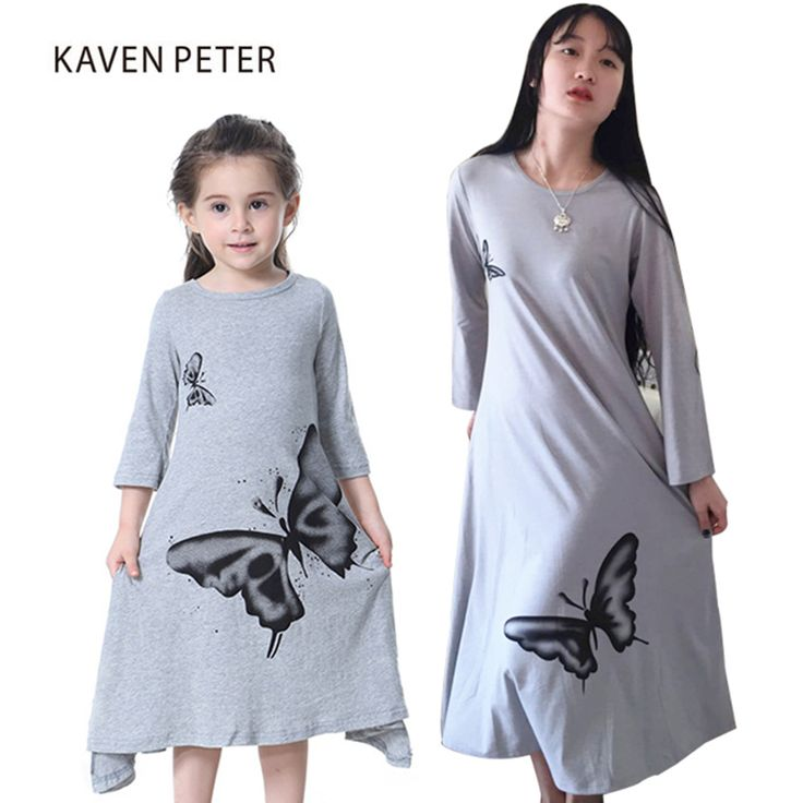 Family matching outfit Parent-child clothes Mom and kids Nightgowns long sleeve Dress bows print Pyjama cotton nightdress  #Affiliate