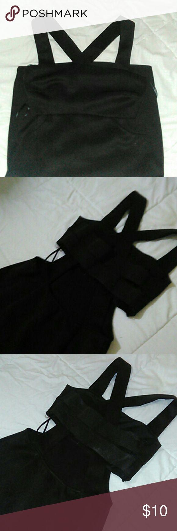 Black Crisscross Mini Dress Triangle sides cut out Form fitting Crisscross back detailing lower back exposures Forever 21 Dresses Mini