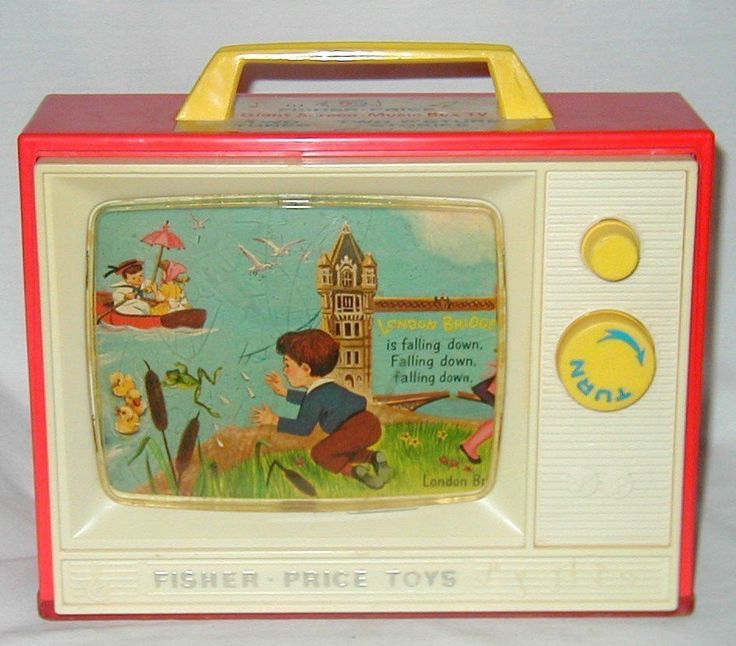 RETRO VINTAGE FISHER PRICE TOY 1966 TV LONDON BRIDGE ROW ROW BOAT WOOD BASE Buy direct from www.Browse-a-while.com