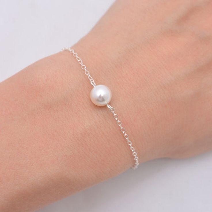 Gold Plated bracelet Simple pearl bracelet imitation pearl Bead Gold Chain Bracelets For Women  SH006