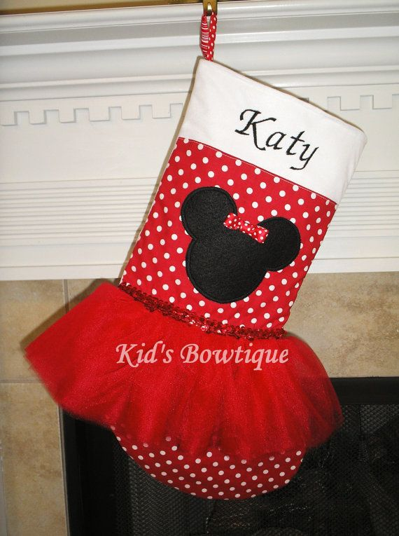 Disney Minnie Mouse Christmas Stocking   by kidsbowtique on Etsy, $39.95