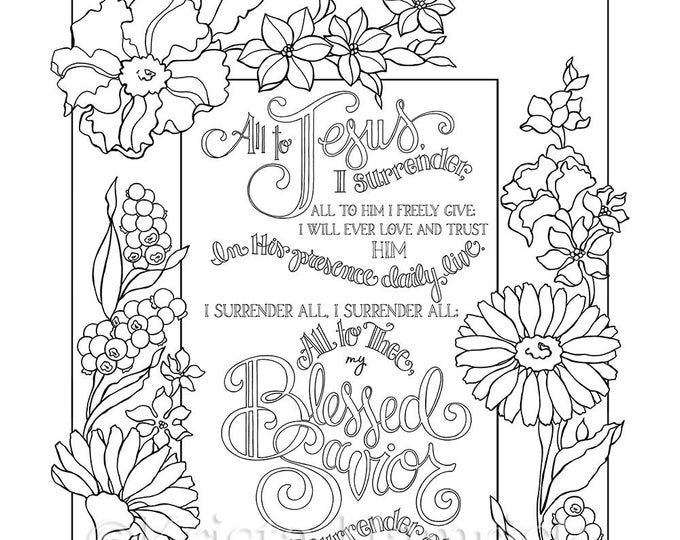 The Way Of The Cross Coloring Page And Bookmarks Etsy I Surrender All Bible Coloring Pages Coloring Pages
