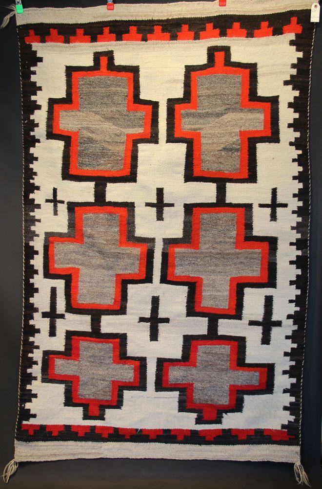 "LARGE 77"" x49"" Navajo Indian Transitional Blanket c1890"