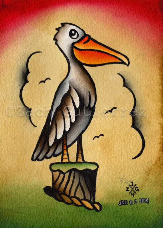 Original Pelican Tattoo Flash by OutofStepPaintings on Etsy
