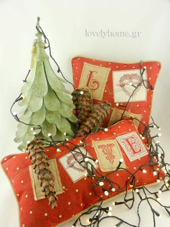 Χριστουγεννιάτικα λαμπάκια σε μεγάλη ποικιλία για μαγευτική ατμόσφαιρα. Δεντράκι μεταλλικό χριστουγεννιάτικο μικρό 21,55 ευρώ (υπάρχει και μεγάλο στην τιμή 31,04 ευρώ) ~ Μαξιλάρι LOVE 35×35 εκ. 12,72 ευρώ ~ Μαξιλάρι LOVE 45×25 εκ. 11,12 ευρώ ~ Κουκουνάρια διακοσμητικά 37 εκ. 6,24 ευρώ , 27 εκ 4,19 ευρώ , 18 εκ. 2,83 ευρώ