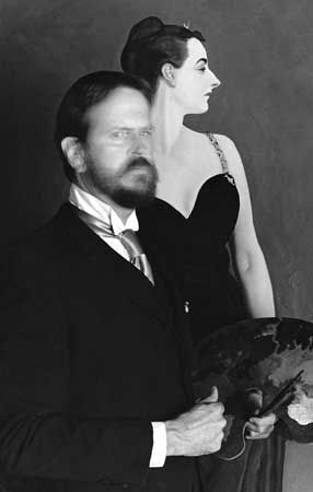 JOHN SINGER SARGENT with his painting of Madame X. (1856 - 1925) An American artist considered the leading portrait PAINTER of his generation.