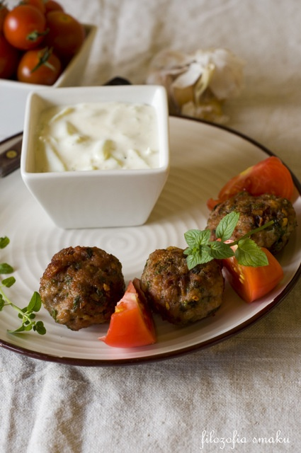 Greek Meatballs (Keftedes)  with Tzatziki
