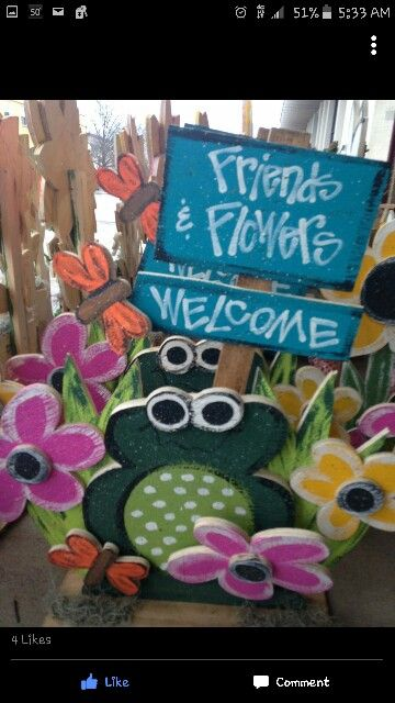 Spring craft. Flowers and frogs cute wood craft - Wood Crafting