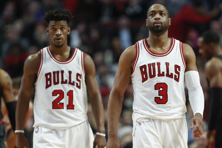 Chicago Bulls guard Dwyane Wade (3) and forward Jimmy Butler (21) walk on the court during the second half of an NBA basketball game against the Atlanta Hawks, Wednesday, Jan. 25, 2017, in Chicago. The Hawks won 119-114. (AP Photo/Kamil Krzaczynski)