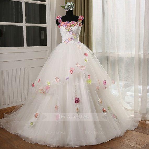Princess Colorful Floral Straps Wedding Dress Rustic Wedding Dress Romantic Wedding Dress Spring Wedding Dress 2016 Bridal Fashion W1032