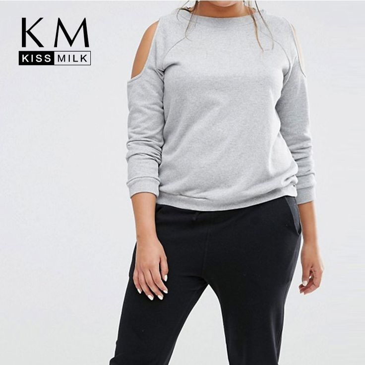 Women Plus Size Big Large Size 3XL 4XL 5XL 6XL Sexy Cold Shoulder Long Sleeve Gray Tees Casual T-shirt Tops