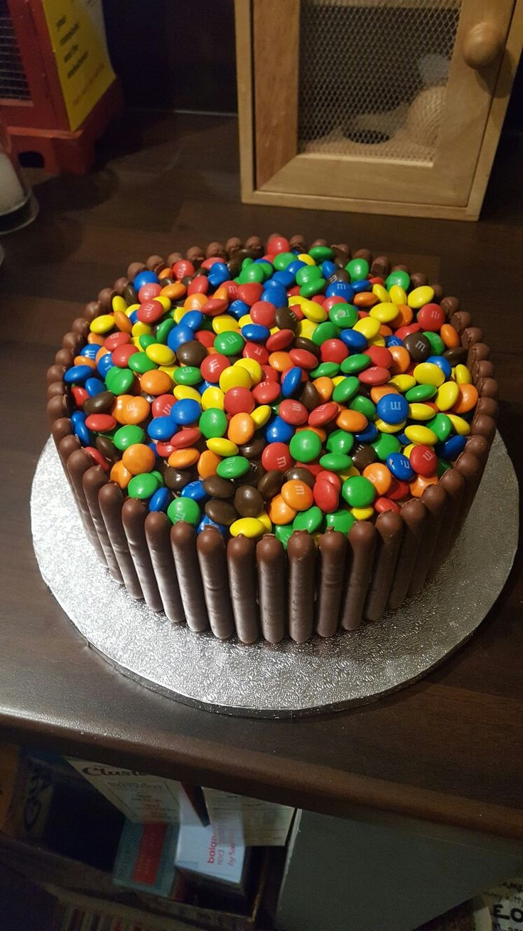 Home made m&m topped birthday cake