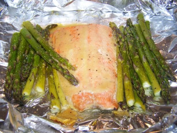 """One stop meal!  Salmon  asparagus, with honey mustard """"butter"""".  Can bake instead of grill (20 mins @ 400)"""