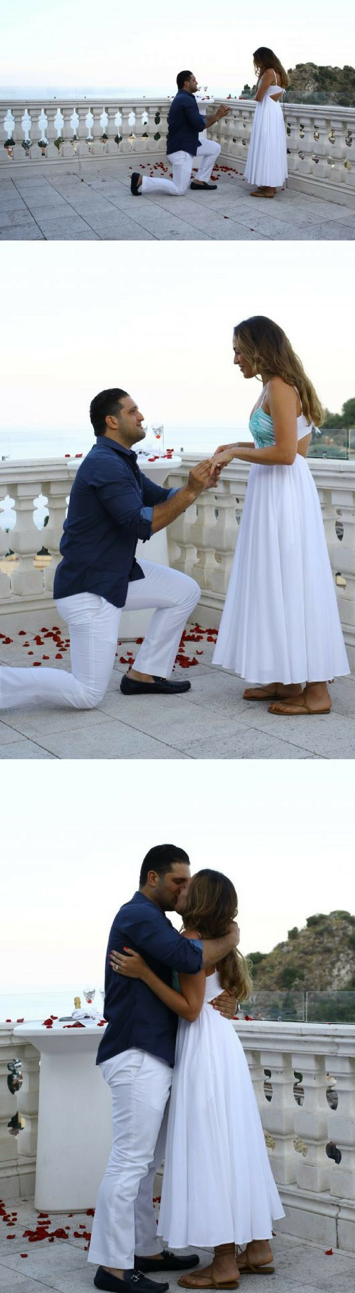 He asked her to marry him while they were visiting her family's origins in Italy!.