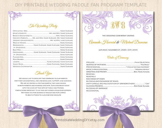 printable wedding program fan template by printableweddingdiy 9 00