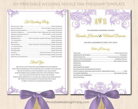 Wedding program fan template| Paddle fan program| Program fan ...