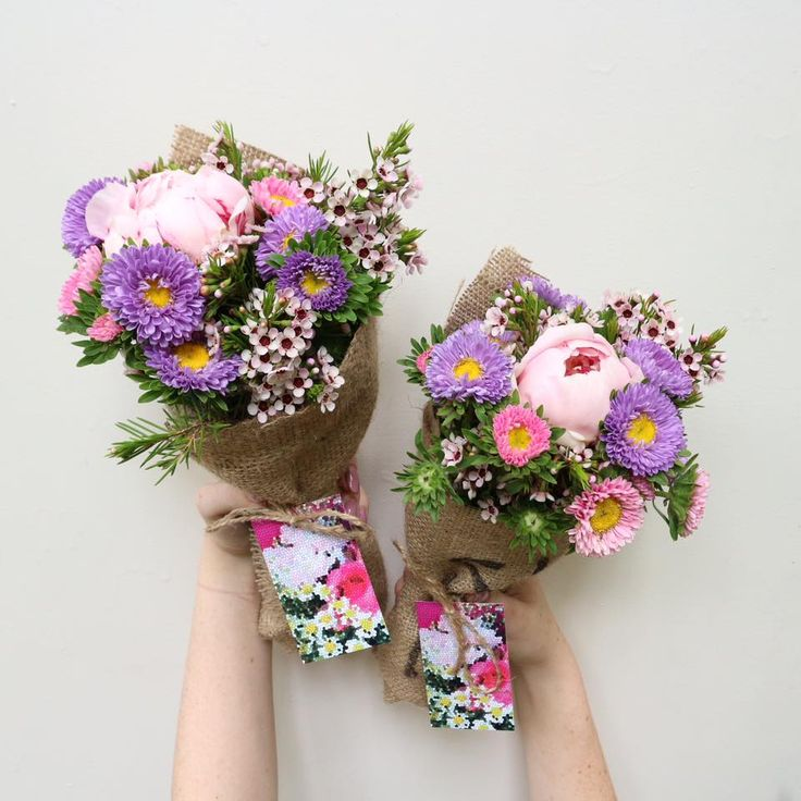 WEDNESDAY Poco Posy Pink PEONIES, purple & pink asters with wax flower • $30 single • $55 double • $85 triple • $55 Man Posy including delivery to Brisbane, Moreton Bay, Logan, Redlands & Ipswich. Be quick, limited stock! www.pocoposy.com.au or 0412 449 682.  💐 Single $30 pictured