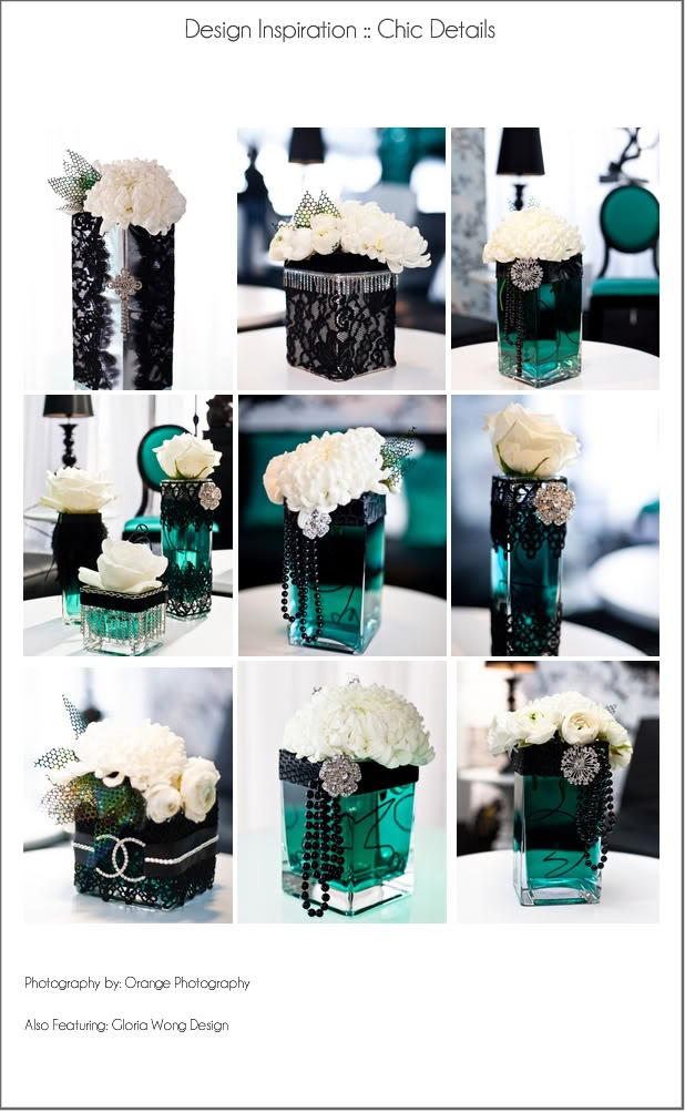 Multiple uses of black and white with vase for centerpiece. INTERESTING TWIST ON CLASSIC. TEAL WATER INTETESTING