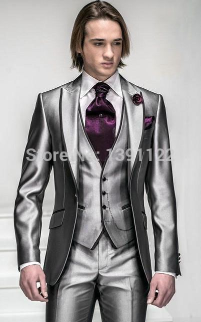 2014 Korea Satin Bright Silver With Black Brim Man Groom Tuxedos Wedding Suits Prom/Formal Suit (Jacket+Pants+Vest+Tie+Square)-in Suits from Men's Clothing & Accessories on Aliexpress.com | Alibaba Group