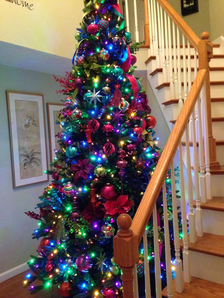 2013 jewel tone christmas tree - Christmas Trees With Colored Lights Decorating Ideas