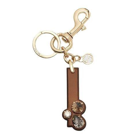 GUCCI  Gucci 'I' Brown Leather Key Ring Handbag Charm with Swarovski Crystals 369483