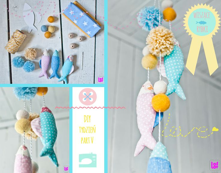 DIY fish decoration #pompom #fish #mobile #decoration #kids