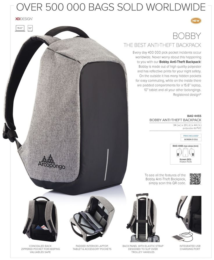 Bobby Anti-Theft Backpack BAG-4455 Buy Bobby Anti-Theft Backpack from Best Branding.  Bobby, The best Anti-Theft Backpack!  Every day 400.000 pick pocket incidents occur worldwide. Never worry about this happening to you with the Bobby Anti-Theft backpack. Key features as cut-proof material, hidden zipper closures and secret pockets will keep your belongings safe during your commutes.  Besides being the safest backpack it is also the the most convenient backpack with features such as: an…