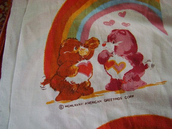 Care Bears American Greetings Flat Sheet by ForestStreetVintage